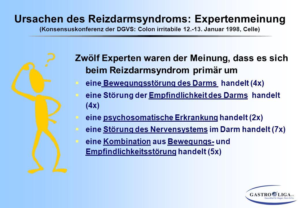 Zwölf Experten waren der Meinung, dass es sich beim Reizdarmsyndrom primär um  eine Bewegungsstörung des Darms handelt (4x)  eine Störung der Empfin