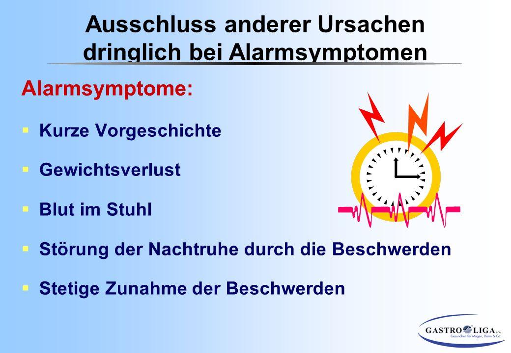 Alarmsymptome:  Kurze Vorgeschichte  Gewichtsverlust  Blut im Stuhl  Störung der Nachtruhe durch die Beschwerden  Stetige Zunahme der Beschwerden
