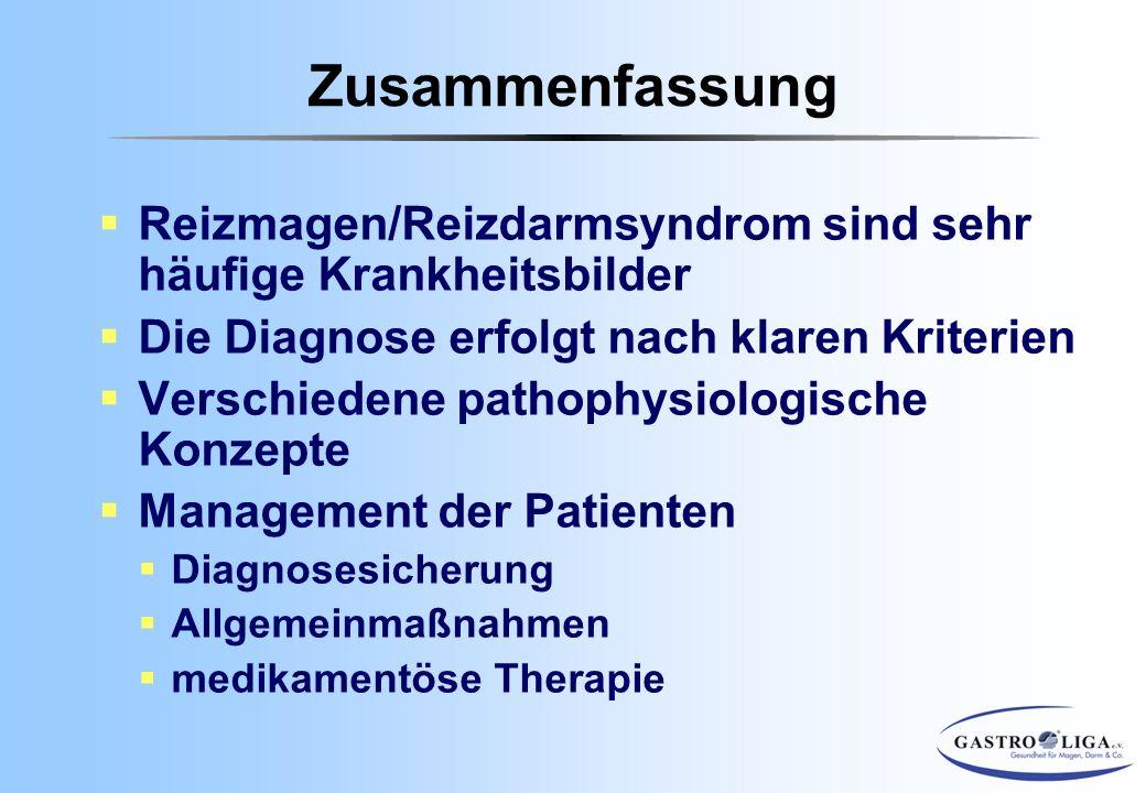  Reizmagen/Reizdarmsyndrom sind sehr häufige Krankheitsbilder  Die Diagnose erfolgt nach klaren Kriterien  Verschiedene pathophysiologische Konzept