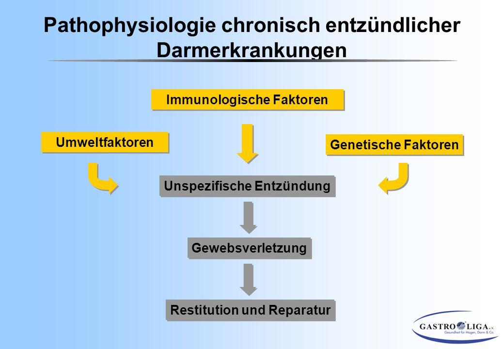 Pathophysiologie chronisch entzündlicher Darmerkrankungen Unspezifische Entzündung Gewebsverletzung Restitution und Reparatur Genetische Faktoren Umwe