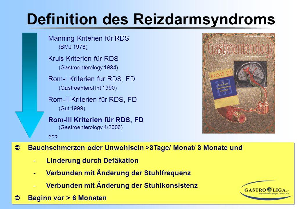 Definition des Reizdarmsyndroms Manning Kriterien für RDS (BMJ 1978) Kruis Kriterien für RDS (Gastroenterology 1984) Rom-I Kriterien für RDS, FD (Gast