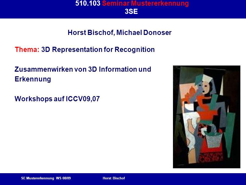 SE Mustererkennung WS 08/09 Horst Bischof 510.103 Seminar Mustererkennung 3SE Horst Bischof, Michael Donoser Thema: 3D Representation for Recognition