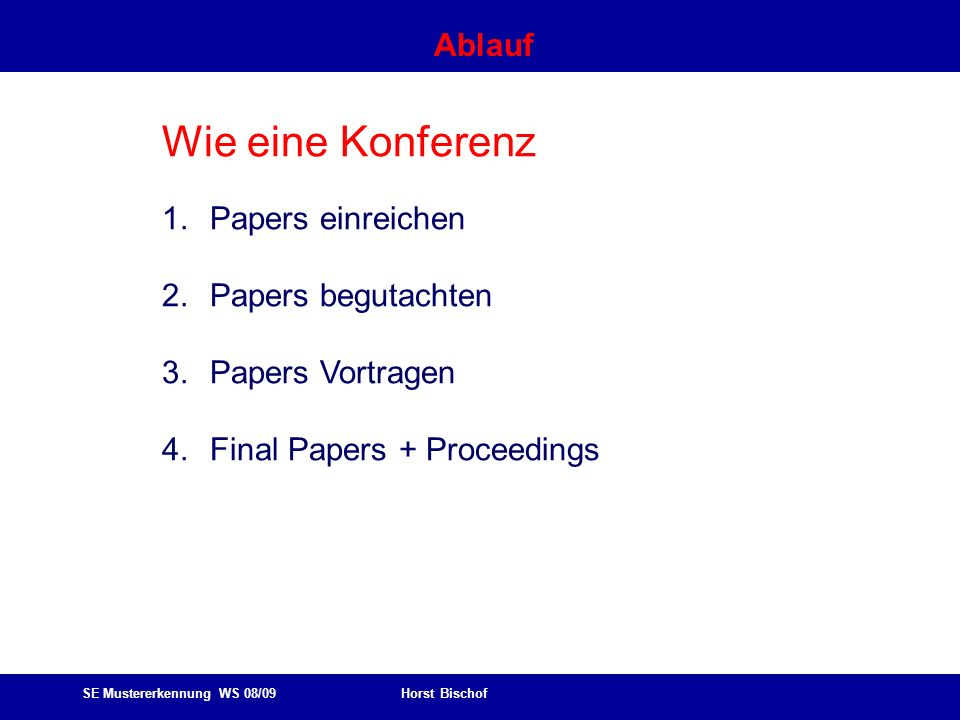 SE Mustererkennung WS 08/09 Horst Bischof Ablauf Wie eine Konferenz 1.Papers einreichen 2.Papers begutachten 3.Papers Vortragen 4.Final Papers + Proceedings