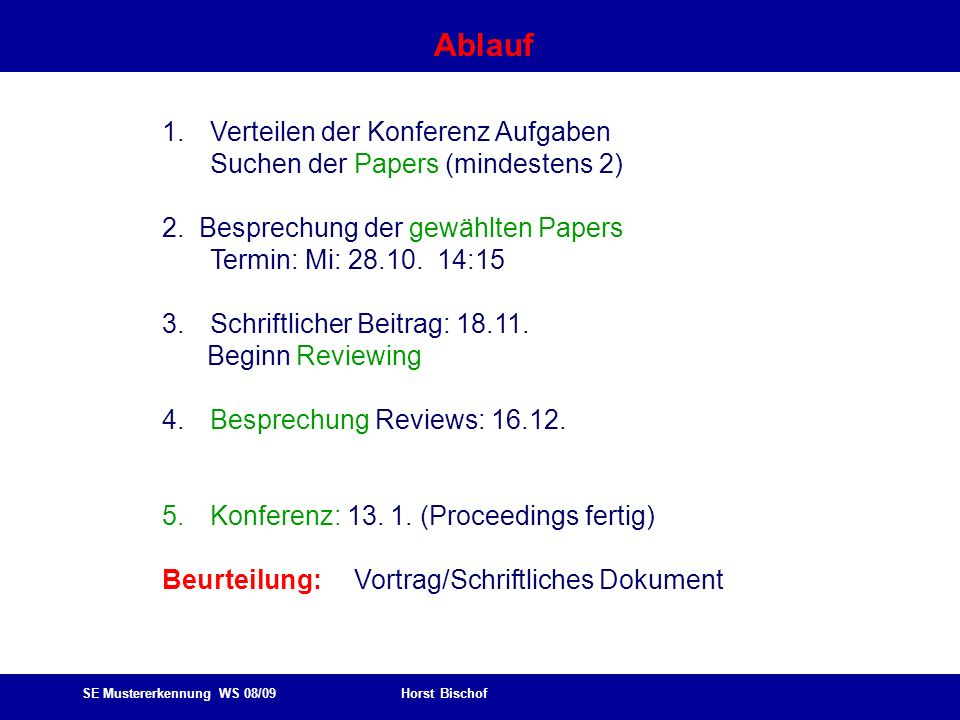 SE Mustererkennung WS 08/09 Horst Bischof Ablauf 1.Verteilen der Konferenz Aufgaben Suchen der Papers (mindestens 2) 2. Besprechung der gewählten Pape
