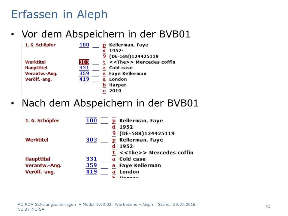Erfassen in Aleph Vor dem Abspeichern in der BVB01 Nach dem Abspeichern in der BVB01 AG RDA Schulungsunterlagen – Modul 3.03.03: Werkebene - Aleph | Stand: 29.07.2015 | CC BY-NC-SA 34