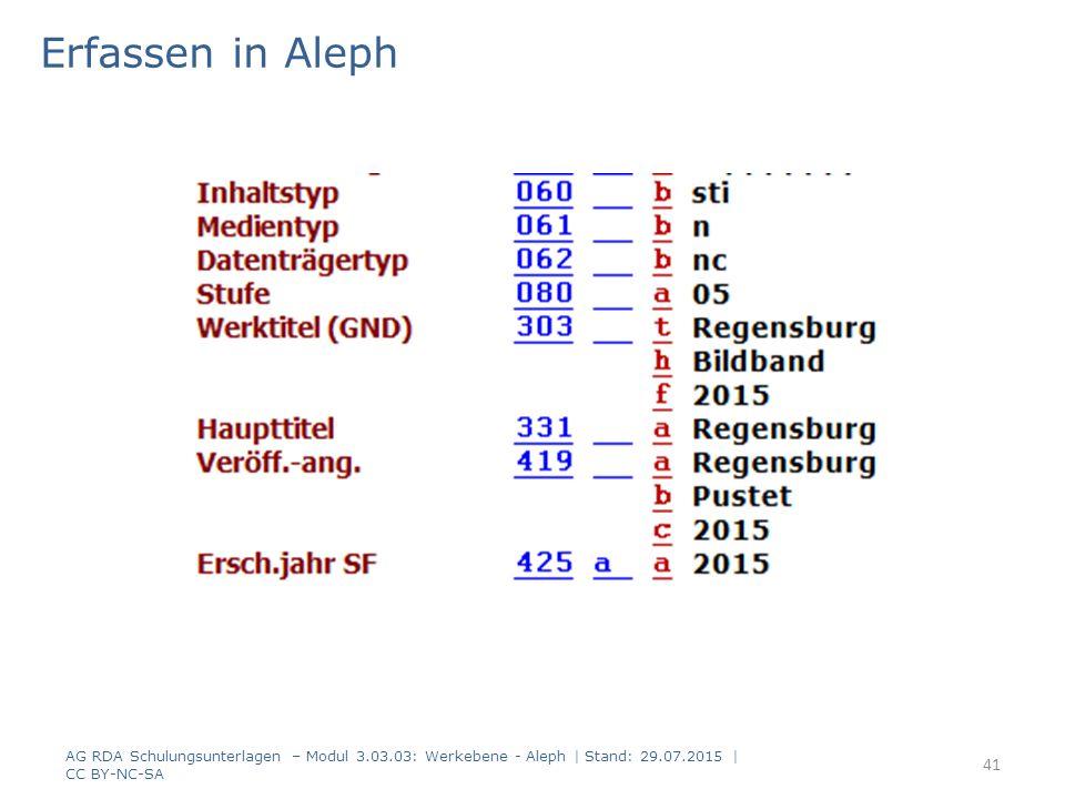 Erfassen in Aleph AG RDA Schulungsunterlagen – Modul 3.03.03: Werkebene - Aleph | Stand: 29.07.2015 | CC BY-NC-SA 41