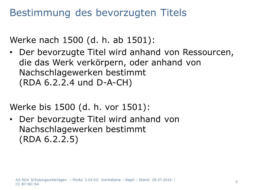 Verbundfestlegungen zu Angaben zum Werk - 1 Primäre Quelle ist die Ressource selbst.