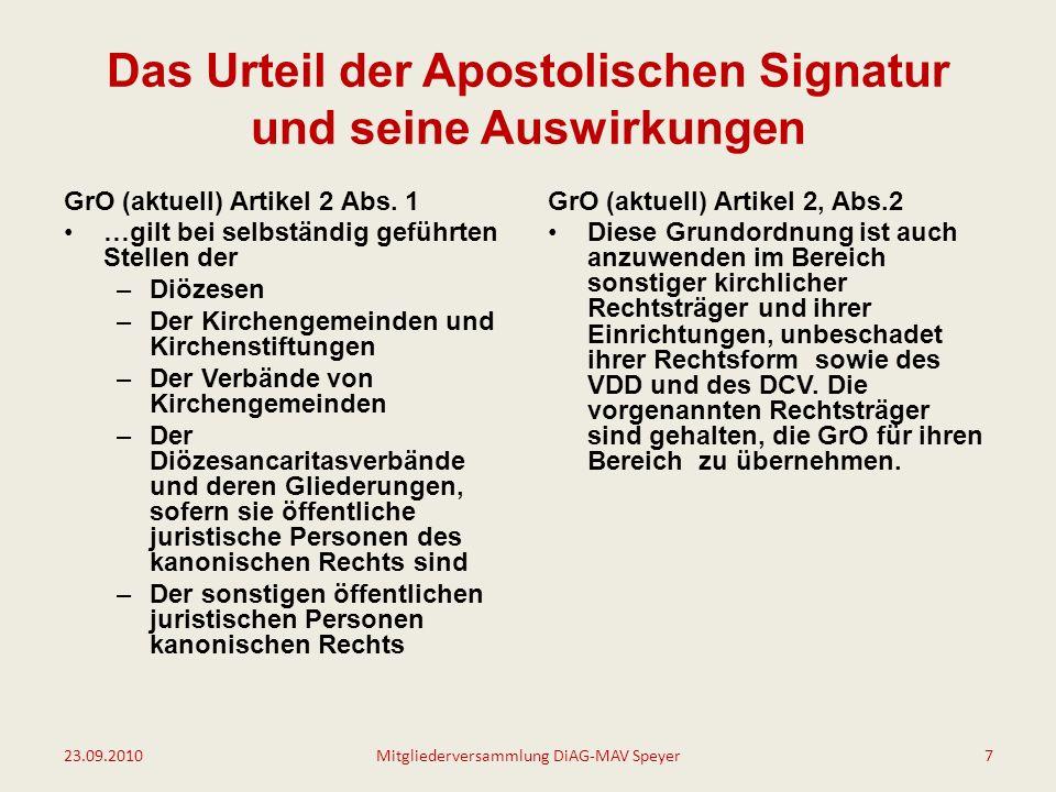 Das Urteil der Apostolischen Signatur und seine Auswirkungen GrO (aktuell) Artikel 2 Abs.