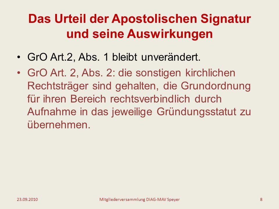 Das Urteil der Apostolischen Signatur und seine Auswirkungen GrO Art.2, Abs.
