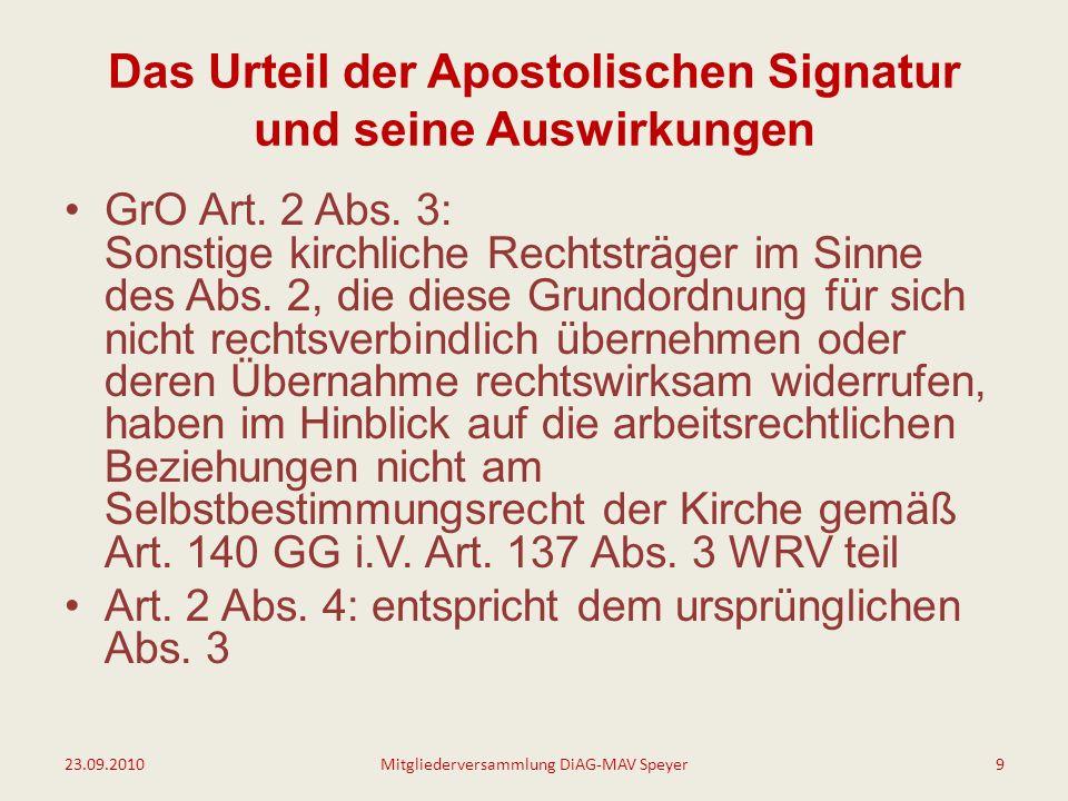Das Urteil der Apostolischen Signatur und seine Auswirkungen Änderung GrO Art.