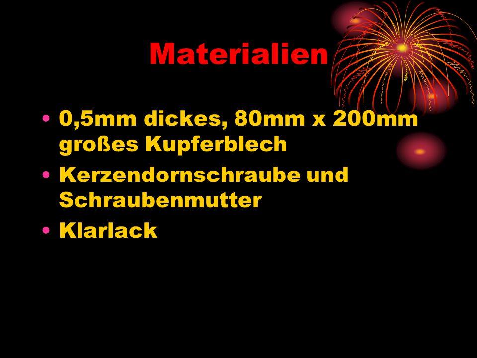 Materialien 0,5mm dickes, 80mm x 200mm großes Kupferblech Kerzendornschraube und Schraubenmutter Klarlack