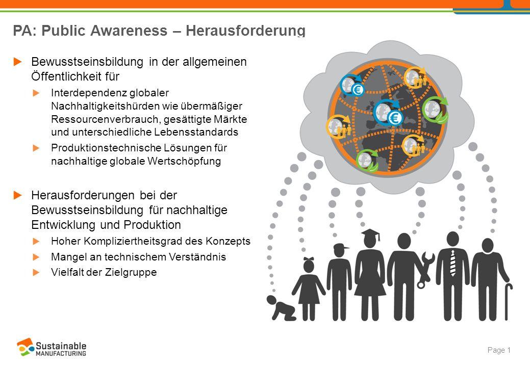 PA: Public Awareness – Ansatz Page 2 Zielgruppenorientierte Kommunikation  Fokus: Kinder und Teenager mit geringem technischen Vorwissen als künftige Entscheidungs- träger und anspruchsvollste Zielgruppe im Hinblick auf die Vermittlungsherausforderung  Weiterbildung von Multiplikatoren, z.