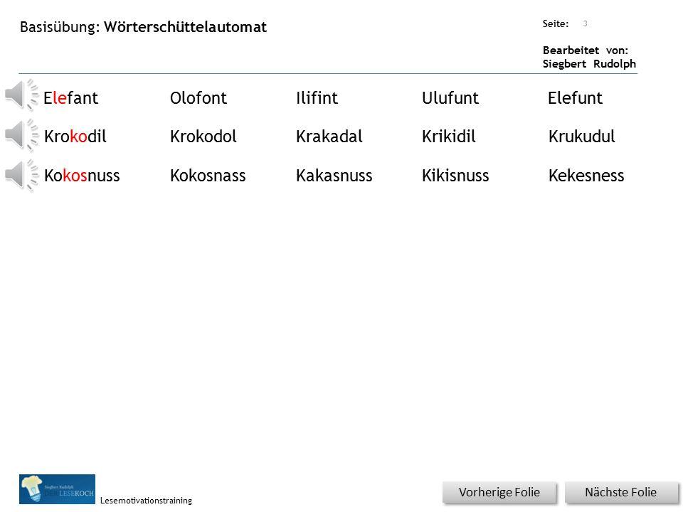 Übungsart: Seite: Bearbeitet von: Siegbert Rudolph Lesemotivationstraining Basisübung: Wörter in Silben Nächste Folie Vorherige Folie E OKro Kokosnuss
