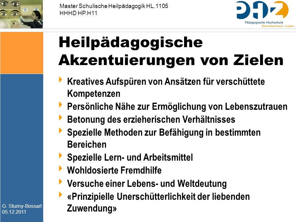 G. Sturny-Bossart 05.12.2011 Master Schulische Heilpädagogik HL.1105 HHHD HP.H11  Kreatives Aufspüren von Ansätzen für verschüttete Kompetenzen  Per