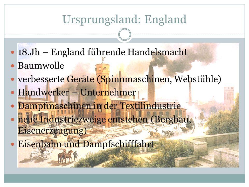 Ursprungsland: England 18.Jh – England führende Handelsmacht Baumwolle verbesserte Geräte (Spinnmaschinen, Webstühle) Handwerker – Unternehmer Dampfma