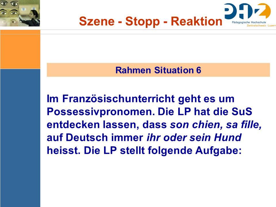 Szene - Stopp - Reaktion Rahmen Situation 6 Im Französischunterricht geht es um Possessivpronomen. Die LP hat die SuS entdecken lassen, dass son chien