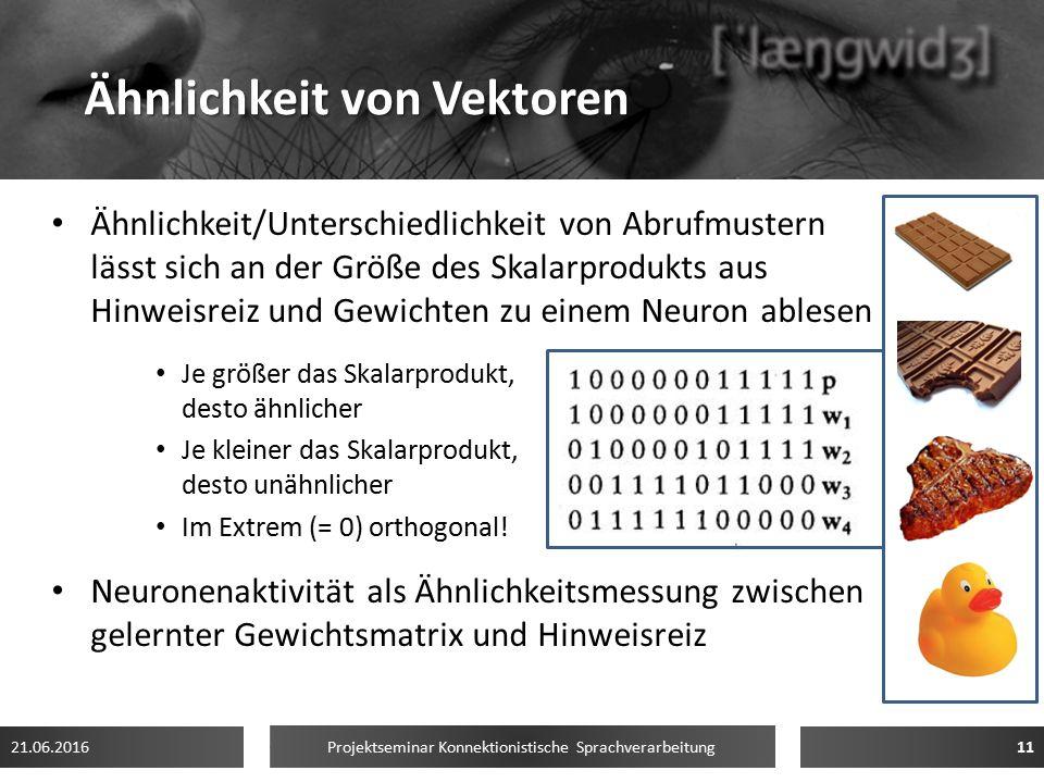 Ähnlichkeit von Vektoren Ähnlichkeit/Unterschiedlichkeit von Abrufmustern lässt sich an der Größe des Skalarprodukts aus Hinweisreiz und Gewichten zu