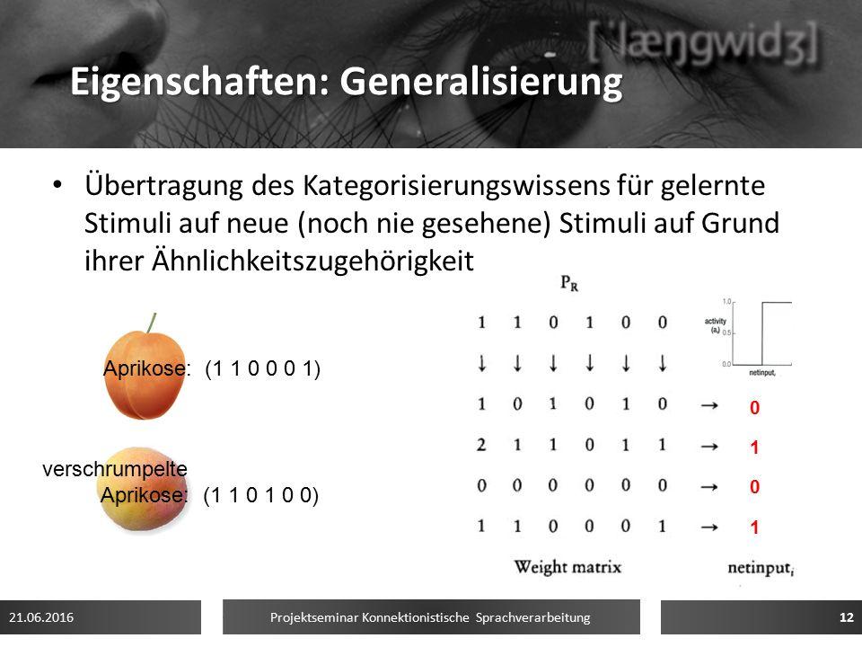 Eigenschaften: Generalisierung Übertragung des Kategorisierungswissens für gelernte Stimuli auf neue (noch nie gesehene) Stimuli auf Grund ihrer Ähnli