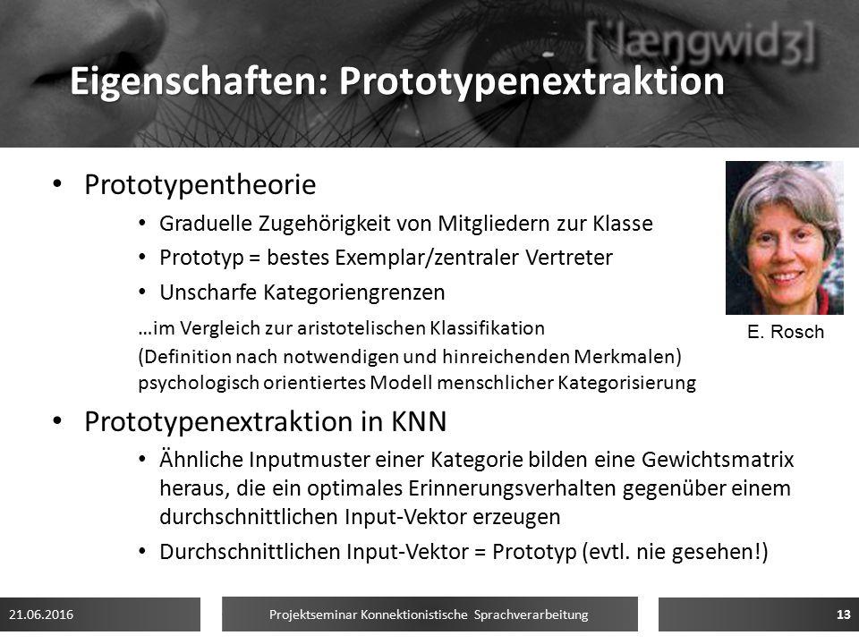 Eigenschaften: Prototypenextraktion Prototypentheorie Graduelle Zugehörigkeit von Mitgliedern zur Klasse Prototyp = bestes Exemplar/zentraler Vertrete