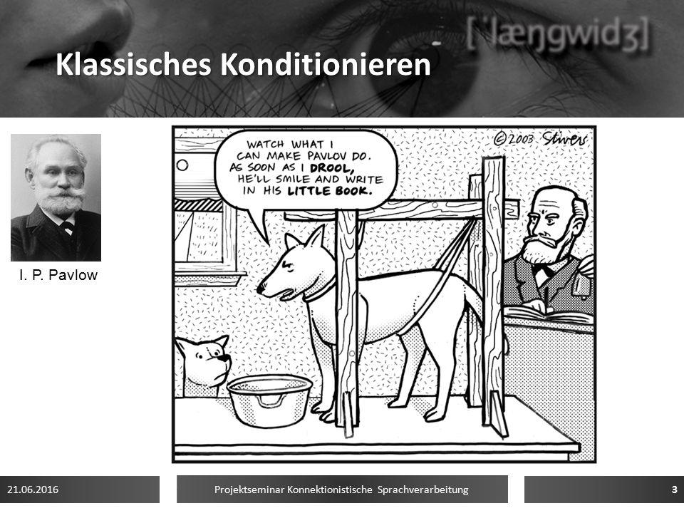 Klassisches Konditionieren Pavlov (1903): Bedingte Reflexe Konditionierter Speichelfluss beim Hund 1.UCS→ UCR 2.CS + UCS→ UCR 3.CS→ CR 21.06.2016 Proj