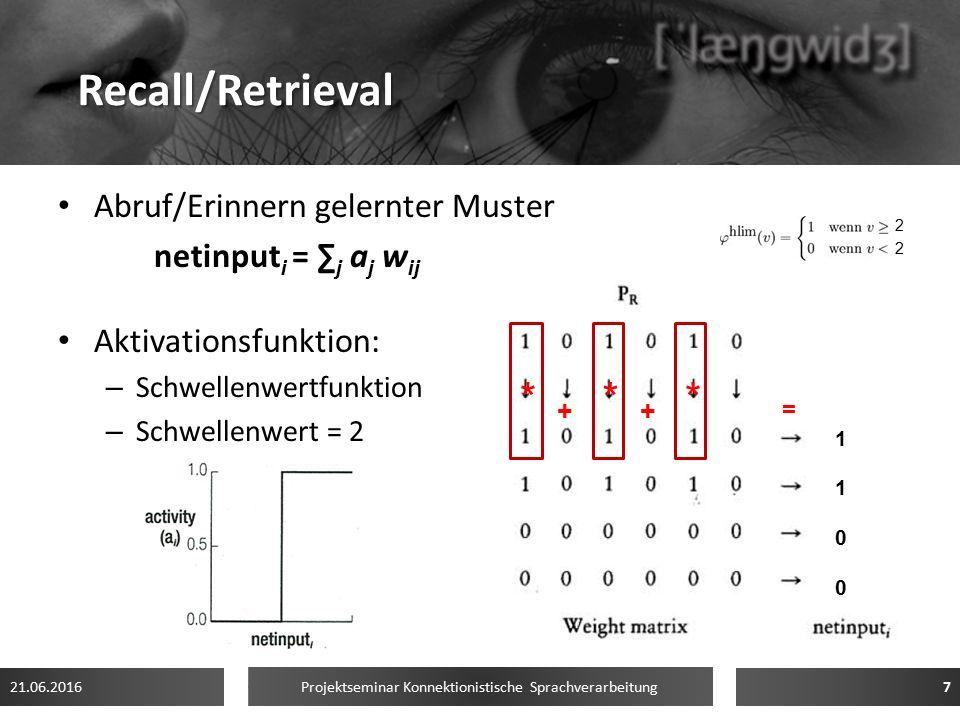 Recall/Retrieval Abruf/Erinnern gelernter Muster netinput i = ∑ j a j w ij Aktivationsfunktion: – Schwellenwertfunktion – Schwellenwert = 2 21.06.2016 Projektseminar Konnektionistische Sprachverarbeitung 7 ++ = *** 2222 11001100