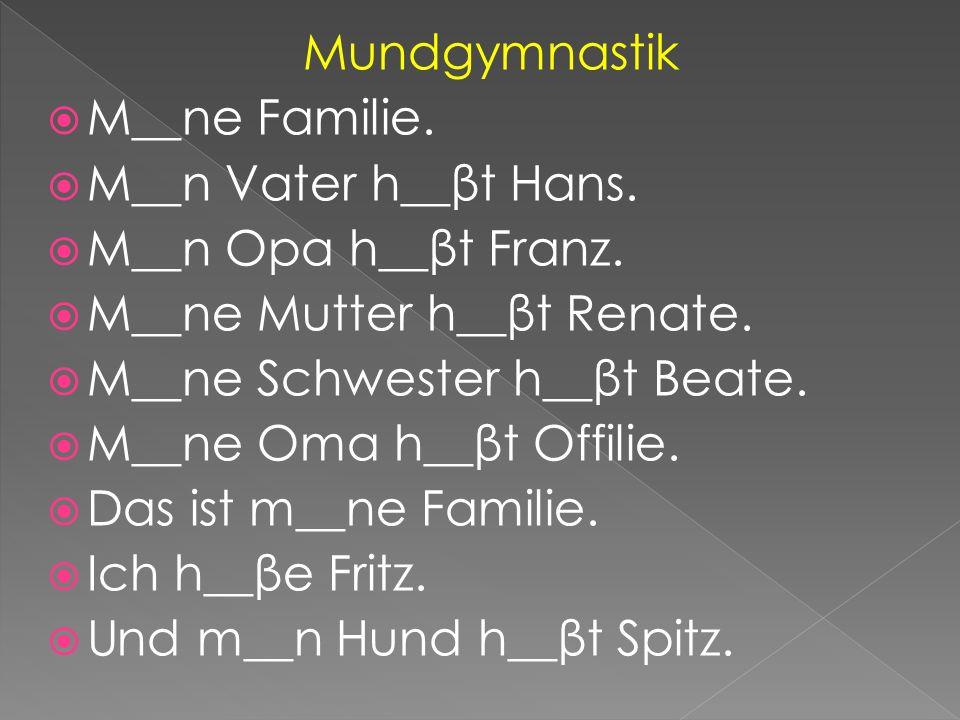 Mundgymnastik  M__ne Familie.  M__n Vater h__βt Hans.