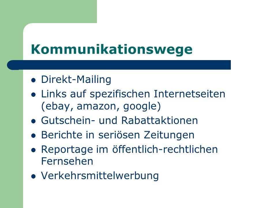 Kommunikationswege Direkt-Mailing Links auf spezifischen Internetseiten (ebay, amazon, google) Gutschein- und Rabattaktionen Berichte in seriösen Zeitungen Reportage im öffentlich-rechtlichen Fernsehen Verkehrsmittelwerbung