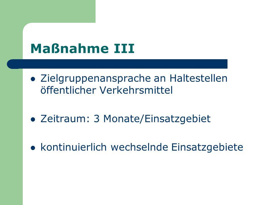 Maßnahme III Zielgruppenansprache an Haltestellen öffentlicher Verkehrsmittel Zeitraum: 3 Monate/Einsatzgebiet kontinuierlich wechselnde Einsatzgebiet