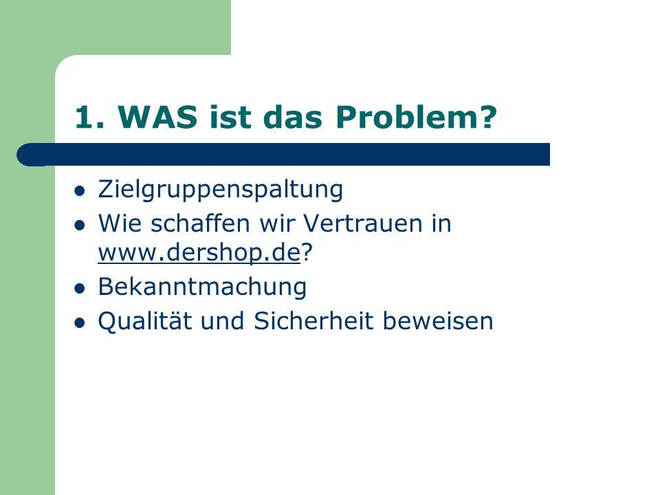 1. WAS ist das Problem? Zielgruppenspaltung Wie schaffen wir Vertrauen in www.dershop.de? Bekanntmachung Qualität und Sicherheit beweisen