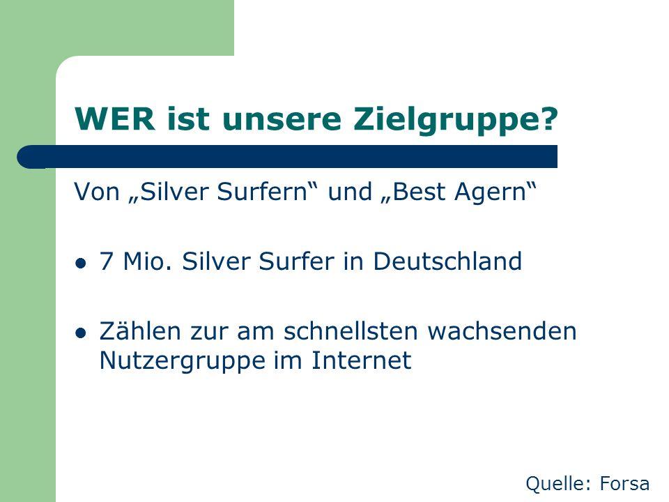 """WER ist unsere Zielgruppe? Von """"Silver Surfern"""" und """"Best Agern"""" 7 Mio. Silver Surfer in Deutschland Zählen zur am schnellsten wachsenden Nutzergruppe"""