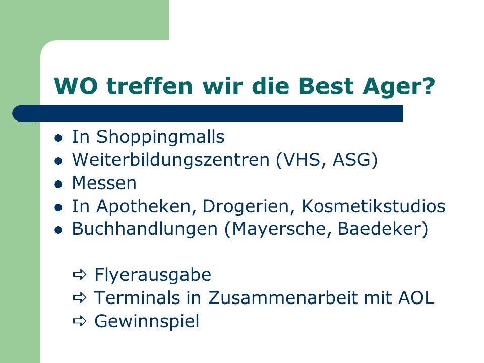 WO treffen wir die Best Ager? In Shoppingmalls Weiterbildungszentren (VHS, ASG) Messen In Apotheken, Drogerien, Kosmetikstudios Buchhandlungen (Mayers