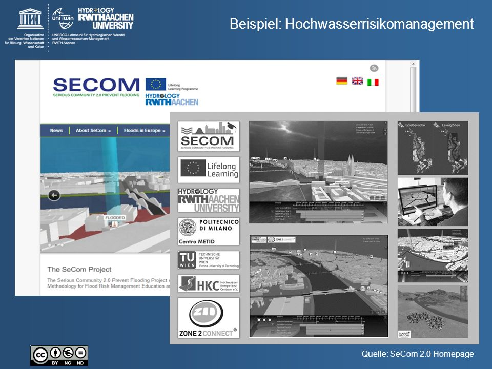 Beispiel: Hochwasserrisikomanagement Quelle: SeCom 2.0 Homepage