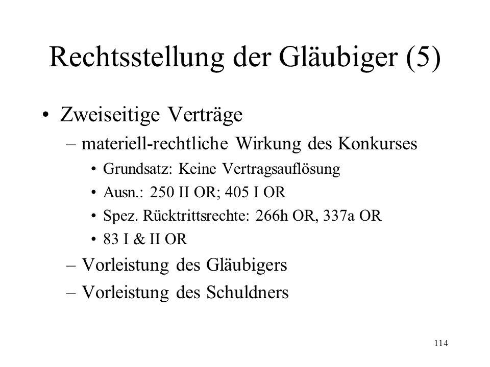 113 Rechtsstellung der Gläubiger (4) auch öffentlich-rechtliche Forderungen Fremdwährungsforderungen Stop des Zinsenlaufes (209) Umwandlung von Realfo
