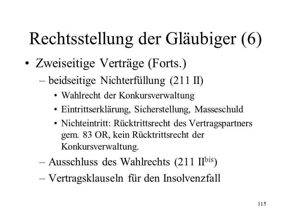 114 Rechtsstellung der Gläubiger (5) Zweiseitige Verträge –materiell-rechtliche Wirkung des Konkurses Grundsatz: Keine Vertragsauflösung Ausn.: 250 II
