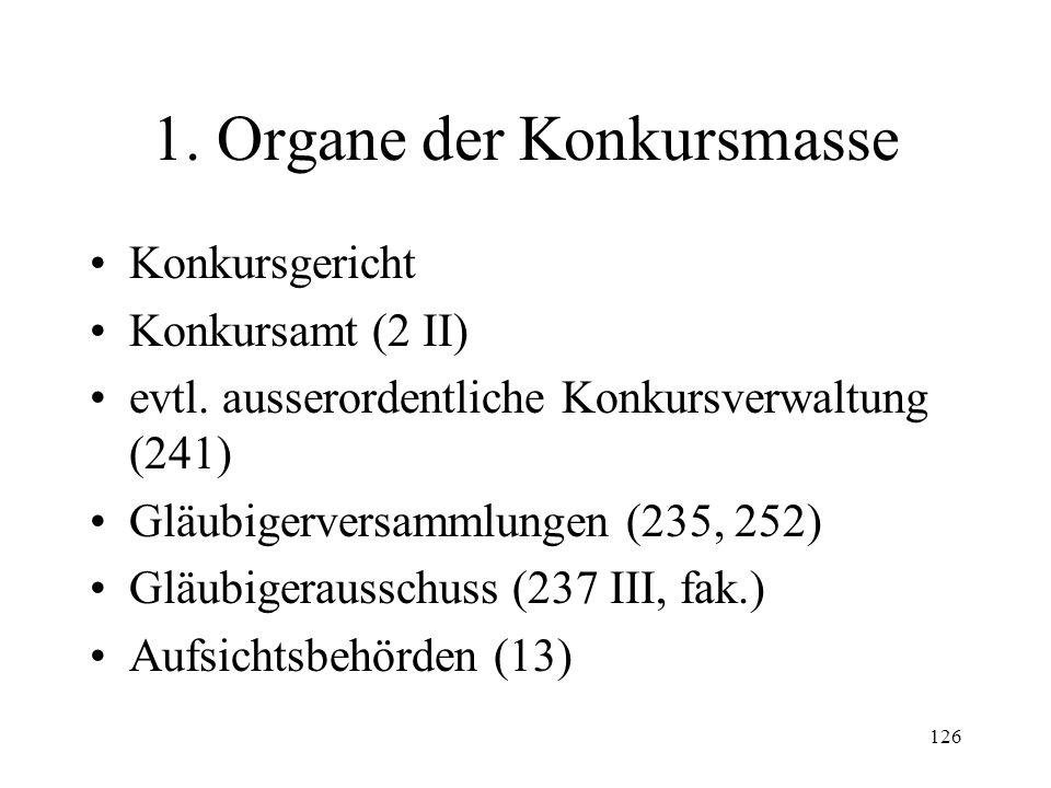 125 XII. Formelles Konkursrecht Übersicht Feststellung und Sicherung der Masse (221-229) Bestimmung des Verfahrens (230-231) Verwaltung der Masse (235