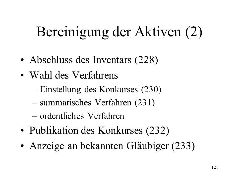 127 2. Bereinigung der Aktiven Inventaraufnahme (221) Inhalt des Inventars –Kompetenzstücke (224) –Sachen im Ausland (27 I KOV) –Sachen Dritter (225)