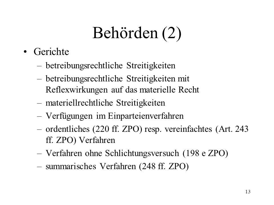 12 5. Behörden (1) Betreibungsämter (2 I SchKG) Konkursämter (2 II) Aufsichtsbehörden (13) Bundesrat (15) Hilfsorgane atypische Organe