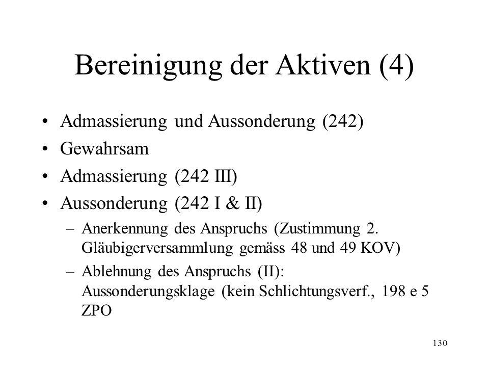 129 Bereinigung der Aktiven (3) Erste Gläubigerversammlung –Konstituierung (235 I & II) –Beschlussfähigkeit (235 III) –Befugnisse (237 II & III, 238)