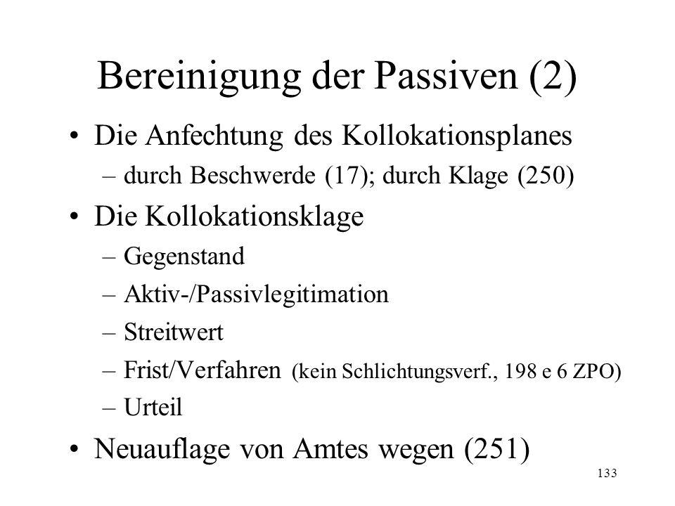 132 3. Bereinigung der Passiven Eingabe durch Gläubiger (232 II Ziff. 2) Nachträgliche Eingabe (251) Aufnahme von Amtes wegen (246) Prüfung durch Konk