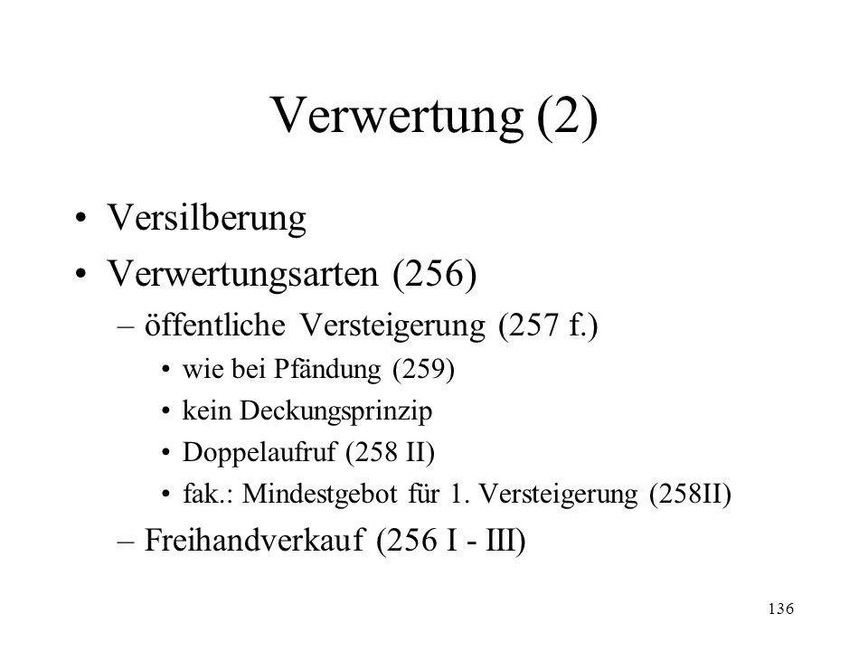 135 4. Verwertung Zweite Gläubigerversammlung (252) –Zusammensetzung (252 I) –Beschlussfähigkeit (252 III, 235 III) Zirkularbeschlüsse (255a) Kompeten