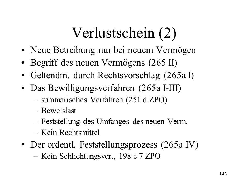 142 8. Verlustscheine Empfänger (265 I) Wirkungen (265) –Unverzinslichkeit (149 IV) –Verjährung nach 20 Jahren (149a I) –Arrestgrund (271 I Ziff. 5) –
