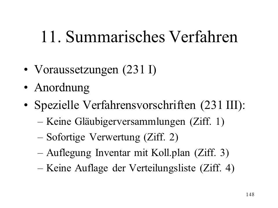 147 10. Widerruf des Konkurses Voraussetzungen (195 I) Zeitpunkt (195 II) Wirkungen bei ausgeschlagener Erbschaft (196)