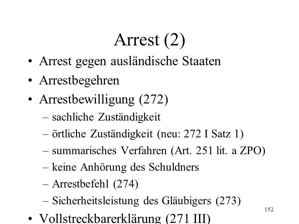 151 XIII. Arrest Allgemeines Voraussetzungen –Arrestforderung (271 I, II; 272 I Ziff. 1) –Arrestgegenstand (272 I Ziff. 3) –Arrestgründe (272 I Ziff.