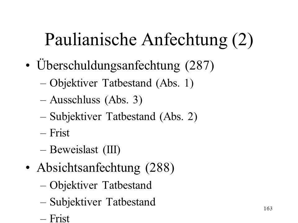 162 XVI. Paulianische Anfechtung Begriff und Funktion (285-292) Schenkungsanfechtung (286) –Objektiver Tatbestand –Subjektiver Tatbestand –Frist –Bewe