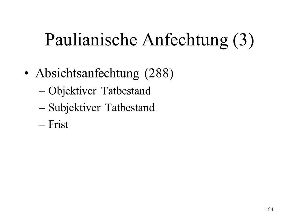 163 Paulianische Anfechtung (2) Überschuldungsanfechtung (287) –Objektiver Tatbestand (Abs. 1) –Ausschluss (Abs. 3) –Subjektiver Tatbestand (Abs. 2) –