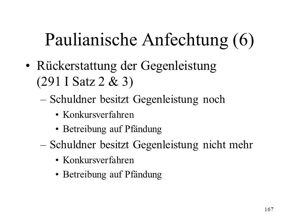 166 Paulianische Anfechtung (5) Gerichtsstand (289) –Beklagter mit Wohnsitz in der Schweiz –Beklagter mit Wohnsitz im Ausland Ausserhalb der Anwendung