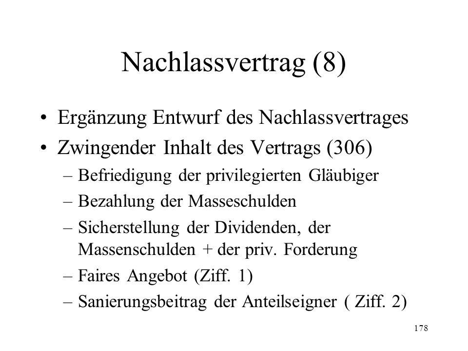 177 Nachlassvertrag (7) Dauerschuldverhältnisse (297a) Verfügungsbefugnis (298) –Anordnung Gericht (I) –Veräusserung Anlagevermögen etc. (II) Massesch