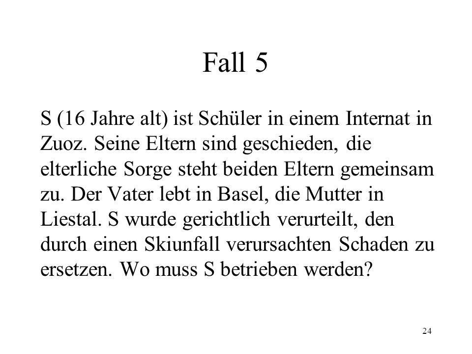 """23 Fall 4 S mit Wohnsitz in Lörrach (D) kauft ein Auto von G. Im Kaufvertrag steht: """"Ge- richtsstand und Betreibungsort ist Basel"""". Nachdem S den Kauf"""