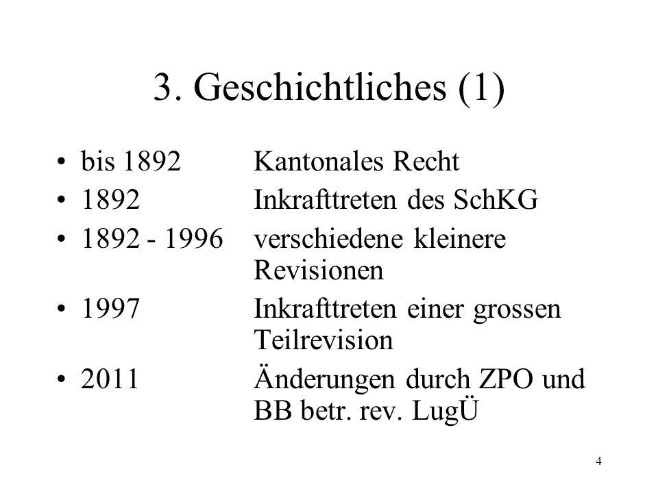114 Rechtsstellung der Gläubiger (5) Zweiseitige Verträge –materiell-rechtliche Wirkung des Konkurses Grundsatz: Keine Vertragsauflösung Ausn.: 250 II OR; 405 I OR Spez.