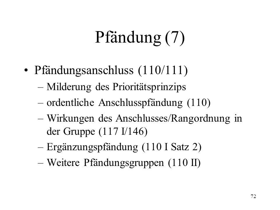 71 Pfändung (6) Reihenfolge der Pfändung (95 f.) Wirkung der Pfändung (96)